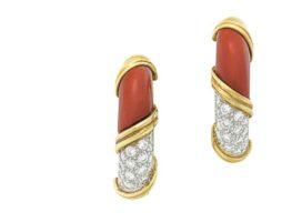 Pair of Diamond & Onyx Earrings, sold at Christie's in 2016